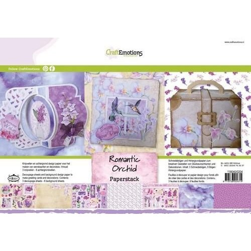 CraftEmotions 118040/0204 - CraftEmotions Paper stack Romantic orchid 11 vel A4