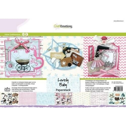 CraftEmotions 118040/0206 - CraftEmotions Paper stack Lovely Baby 11 vel A4
