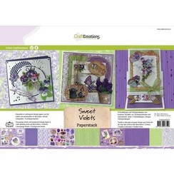 118040/0207 - CraftEmotions Paper stack Sweet Violets 11 vel A4