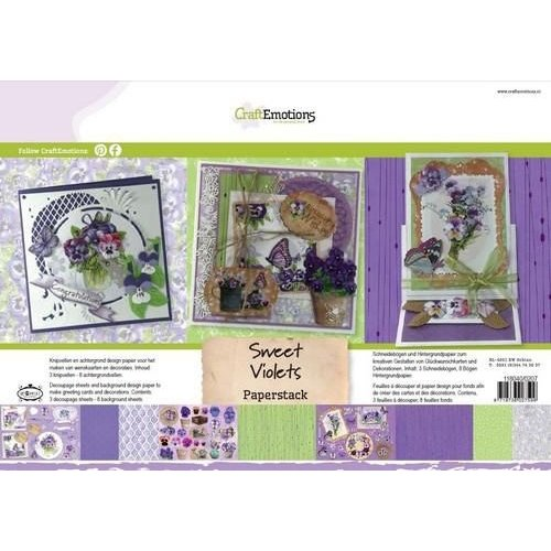 CraftEmotions 118040/0207 - CraftEmotions Paper stack Sweet Violets 11 vel A4
