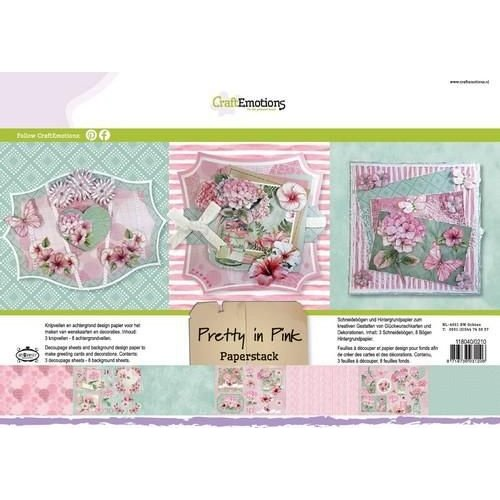 CraftEmotions 118040/0210 - CraftEmotions Paper stack Pretty in pink 11 vel A4