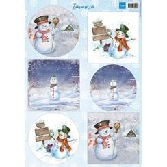 VK9569 - Knipvel A4 Snowmen circles & squares