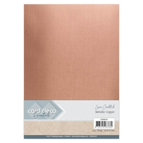 Card Deco CDEML003 - Card Deco Essentials - Metallic Linnenkarton - Metallic Copper