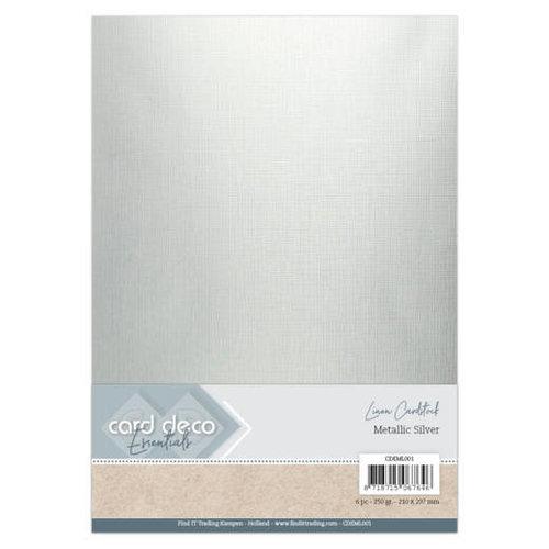 Card Deco CDEML001 - Card Deco Essentials - Metallic Linnenkarton - Metallic Silver