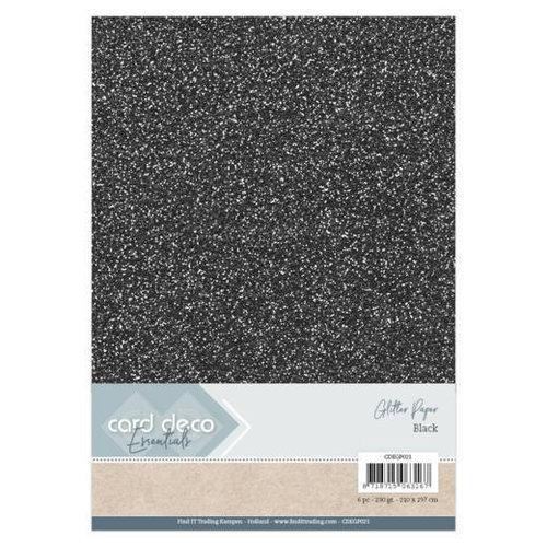 Card Deco CDEGP021 - Card Deco Essentials Glitter Paper Black