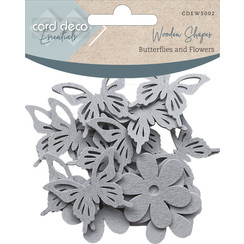 CDEWS002 - Card Deco Essentials - Wooden Shapes - Butterflies and Flowers - Light Grey