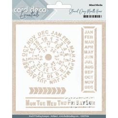 CDEST004 - Card Deco Essentials - Stencil Day - Month - Year