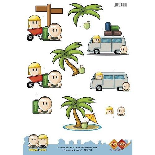 Card Deco CD10730 - 10 stuks 3D knipvel - Pascal en Aline - Vacation- Traveling