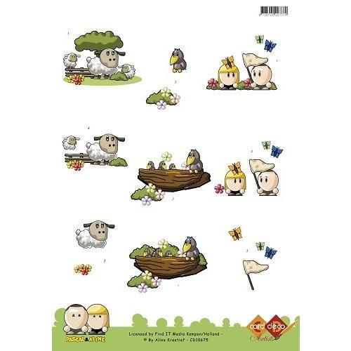 Card Deco CD10675 - 10 stuks 3D knipvel - Pascal en Aline - Lente Sheep