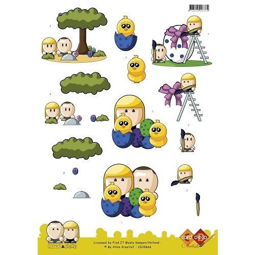 Card Deco CD10666 - 10 stuks 3D knipvel - Pascal en Aline -  Easter Chicks