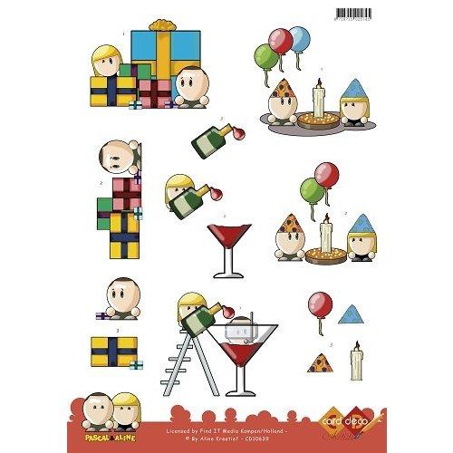 Card Deco CD10639 - 10 stuks 3D knipvel - Pascal en Aline -  Partytime