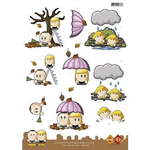 Card Deco CD10605 - 10 stuks 3D knipvel - Pascal en Aline - Autumn Windy