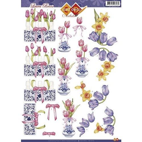 Card Deco CD10374 - 10 stuks 3D knipvel - Laura Broos- tulpen