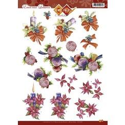 CD10328 - 10 stuks 3D knipvel - Card Deco Artists Erica van Leeuwen - Kerst