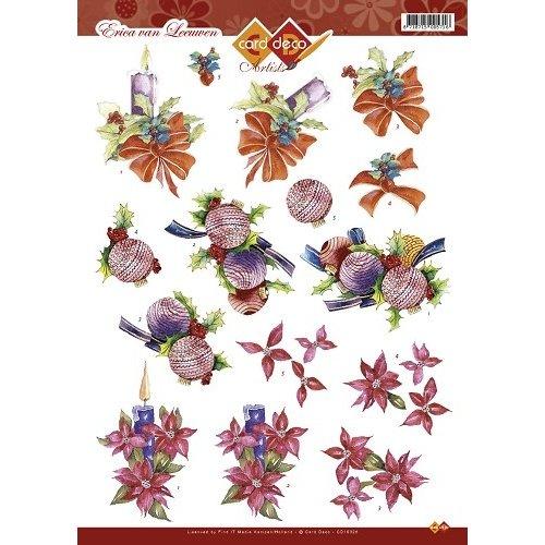 Card Deco CD10328 - 10 stuks 3D knipvel - Card Deco Artists Erica van Leeuwen - Kerst