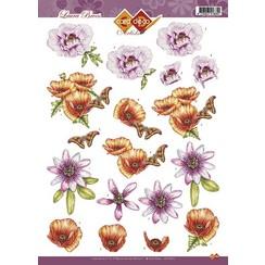 CD10278 - 10 stuks 3D knipvel - Laura Broos - Bloemen & Vlinders