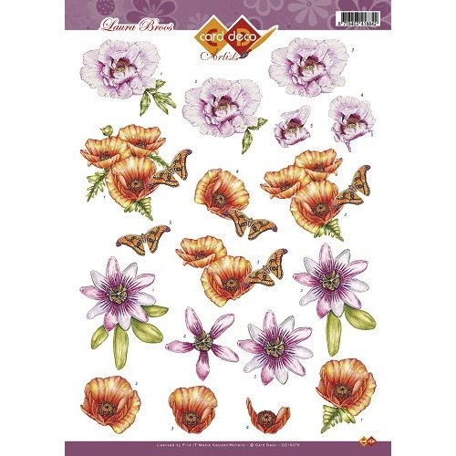 Card Deco CD10278 - 10 stuks 3D knipvel - Laura Broos - Bloemen & Vlinders