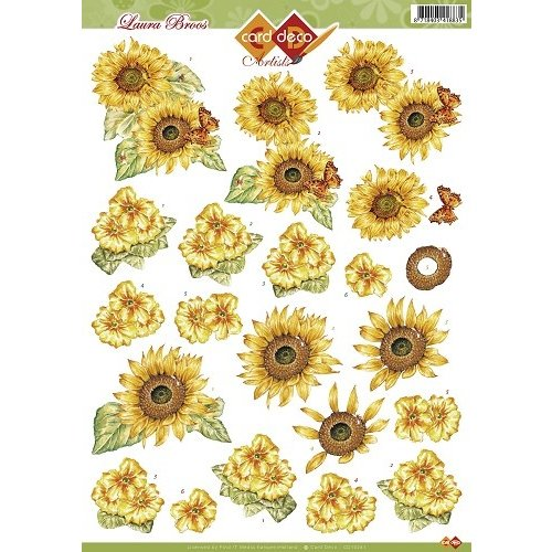 Card Deco CD10281 - 10 stuks 3D knipvel - Laura Broos - Bloemen
