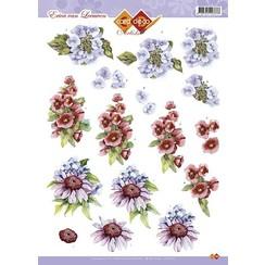 CD10275 - 10 stuks 3D knipvel - Erica van Leeuwen - Blauwe Bloemen