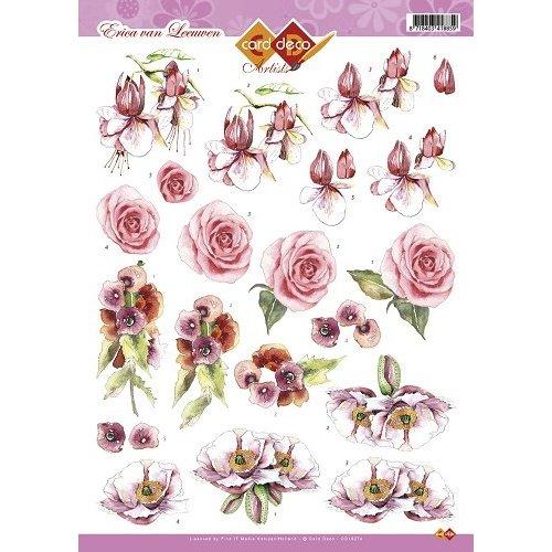 Card Deco CD10274 - 10 stuks 3D knipvel - Erica van Leeuwen - Bloemen