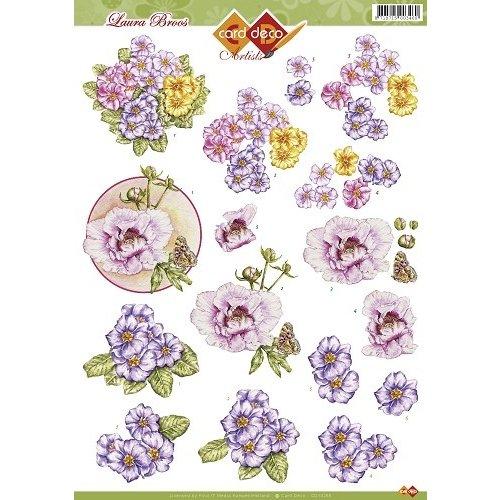 Card Deco CD10265 - 10 stuks 3D knipvel - Laura Broos - Bloemen