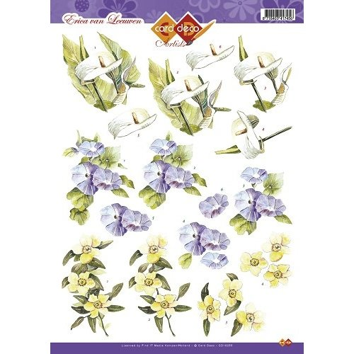 Card Deco CD10255 - 10 stuks 3D knipvel - Erica van Leeuwen - Bloemen