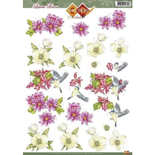 Card Deco CD10252 - 10 stuks 3D knipvel - Laura Broos - Vogeltje