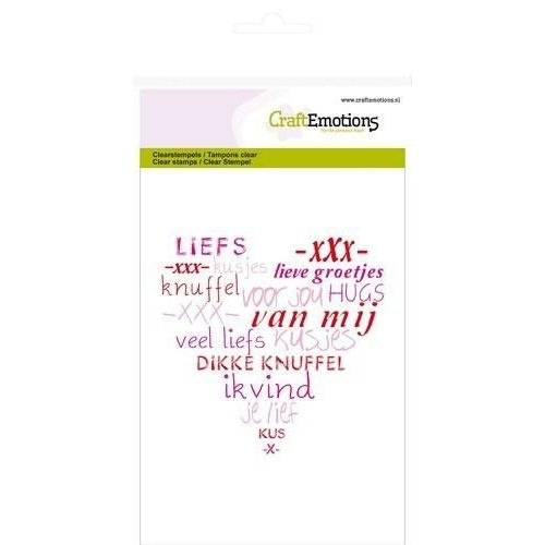 CraftEmotions 130501/1106 - CraftEmotions clearstamps A6 - hart veel liefs (NL)