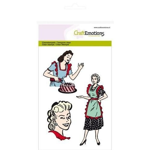 CraftEmotions CRE013 - CraftEmotions clearstamps A6 - 3 lady's Fifties Kitchen