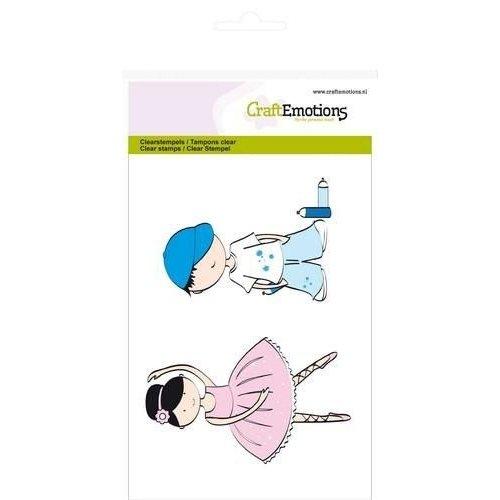 CraftEmotions 130501/1104 - CraftEmotions clearstamps A6 - jongen en meisje