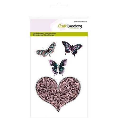 CraftEmotions 130501/1082CRE - CraftEmotions clearstamps A6 - hart en vlinders Happiness