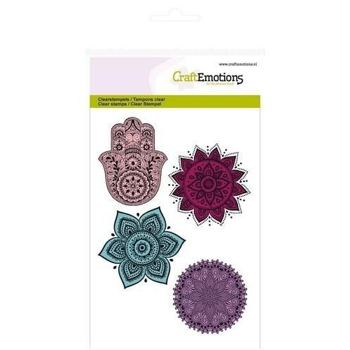 CraftEmotions 130501/1083CRE - CraftEmotions clearstamps A6 - hand, bloem ornament Happiness