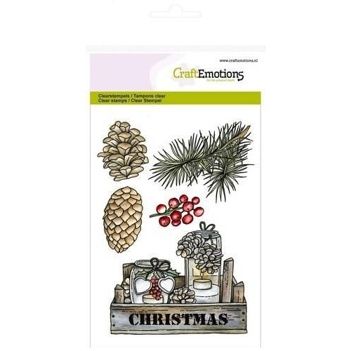 CraftEmotions CRE0111 - CraftEmotions clearstamps A6 - kistje decoraties Home for Christmas
