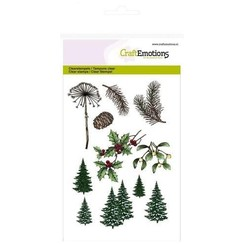 CRE0125 - CraftEmotions clearstamps A6 - kerst bomen, takken Christmas Nature