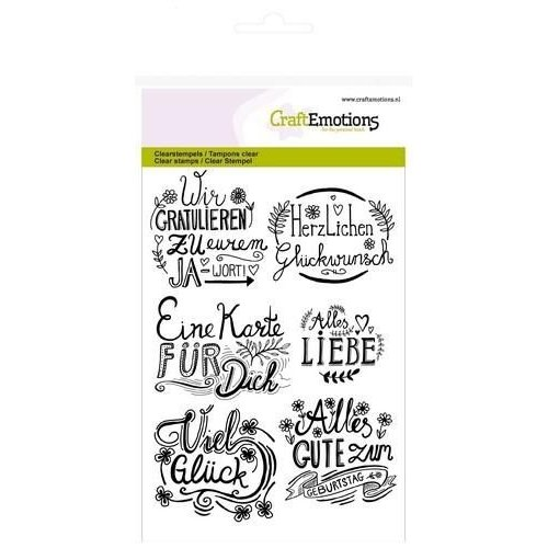 CraftEmotions CRE0147 - CraftEmotions clearstamps A6 - wir gratulieren... handlettering (DE)