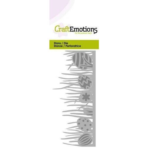 CraftEmotions 115633/0207 - CraftEmotions Die - grasrand met paas eieren Card 5x10cm