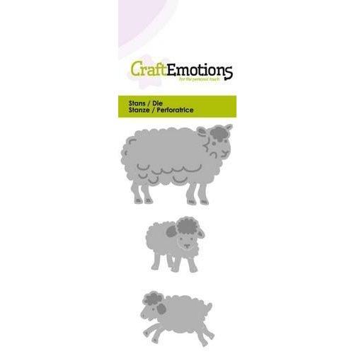 CraftEmotions 115633/0209 - CraftEmotions Die -  schaap met lammetjes fantasie Card 5x10cm