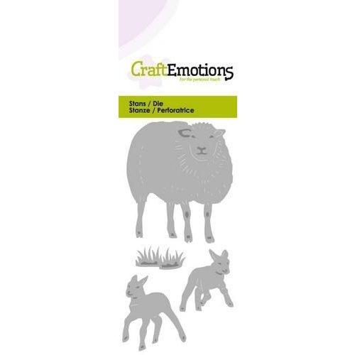CraftEmotions 115633/0210 - CraftEmotions Die - schaap met lammetjes Card 5x10cm