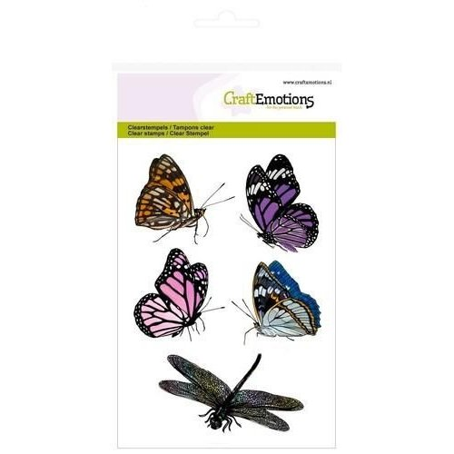 CraftEmotions CRE0162 - CraftEmotions clearstamps A6 - vlinders, libelle