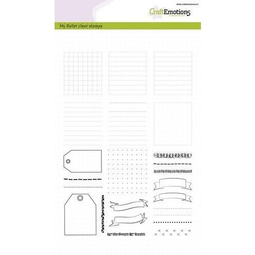 CraftEmotions CRE0184 - CraftEmotions clearstamps A5 - Bullet Journal - frames en randen