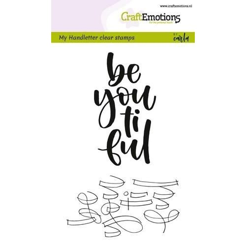 CraftEmotions CRE0189 - CraftEmotions clearstamps A6 -  handletter -  be you ti ful (Eng) Carla Kamphuis