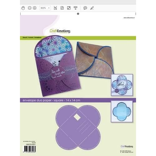 CraftEmotions 0,3mm - 4501 - CraftEmotions stencil- envelop duo paper - vierkant 14x14cm