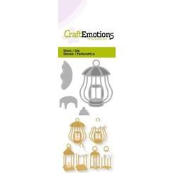 115633/0217 - CraftEmotions Die - 3 lantaarns met sneeuw Card 5x10cm