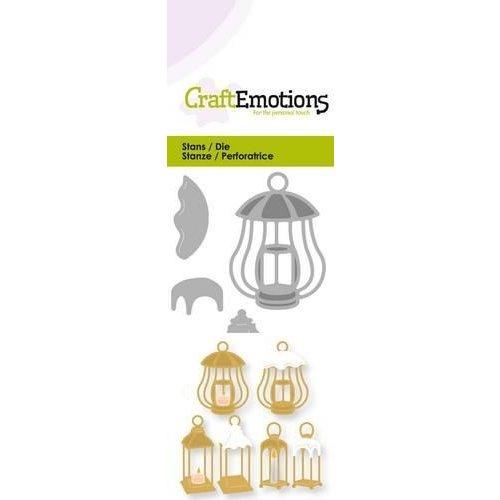 CraftEmotions 115633/0217 - CraftEmotions Die - 3 lantaarns met sneeuw Card 5x10cm