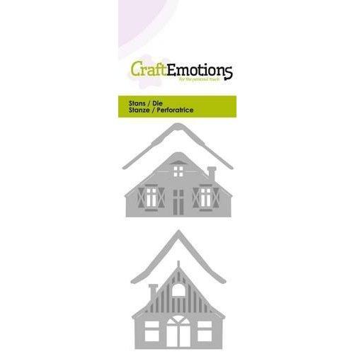 CraftEmotions 115633/0222 - CraftEmotions Die - 2 huisjes met sneeuw Card 5x10cm
