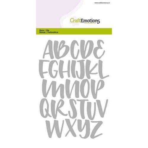 CraftEmotions 115633/0512 - CraftEmotions Die - alfabet handlettering hoofdletters Card 10,5x14,8cm Carla Kamphuis