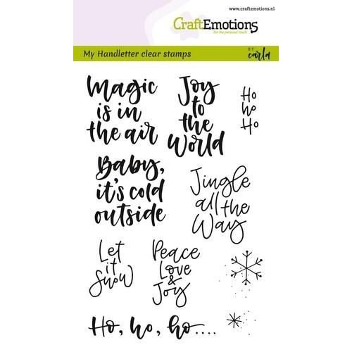 CraftEmotions CRE0229 - CraftEmotions clearstamps A6 - handletter - text xmas small (Eng) Carla Kamphuis