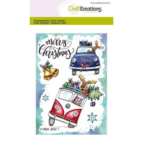 CraftEmotions CRE0309 - CraftEmotions clearstamps A6 - x-mass cars 1 Carla Creaties