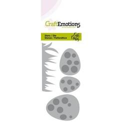 115633/0265 - CraftEmotions Die - Easter - gras en eieren met stip Card 5x10cm Carla Creaties