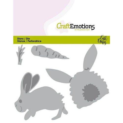 CraftEmotions 115633/0435 - CraftEmotions Die - Bunny 1 -konijn met wortel Card 11x9cm Carla Creaties